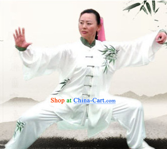 Traditional White Bamboo Embroidery Kung Fu Suit