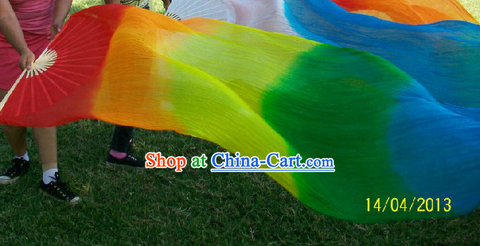Professional Dancer Rainbow Color Long Silk Dance Fan