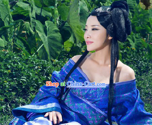 Ancient Chinese Blue Hanfu Clothes Complete Set for Women