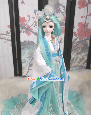 Ancient Chinese White and Blue Hanfu SD Clothes Complete Set