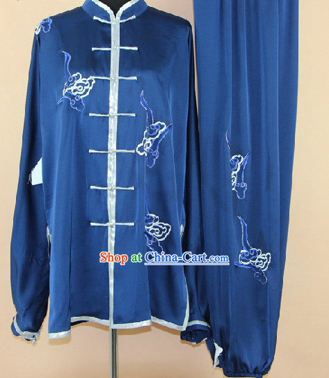 Traditional Chinese Blue Embroidered Martial Arts Uniform Complete Set