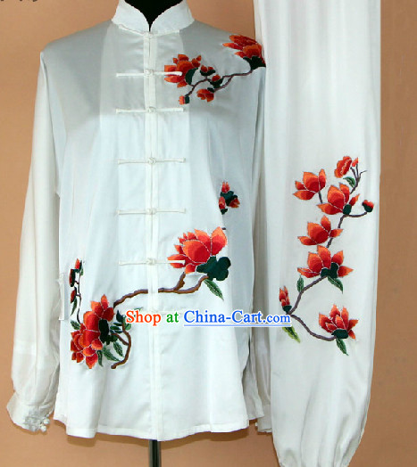 Traditional White Silk Flower Embroidery Martial Arts Competition Suit Complete Set