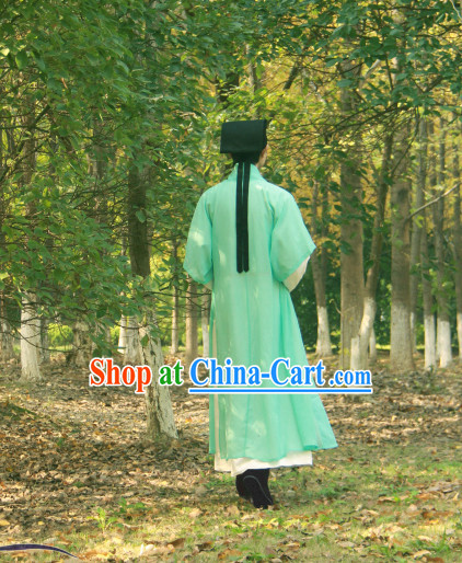 Ancient Chinese Green and White Academic Clothes and Hat for Men