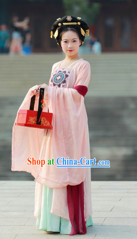 Tang Dynasty Beauty Wide Sleeve Gown