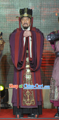 Chinese Court Costume Traditional Dress and Hat for Men