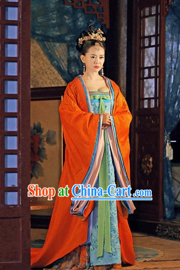Chinese Tang Dynasty Princess Clothes online and Headwear Complete Set