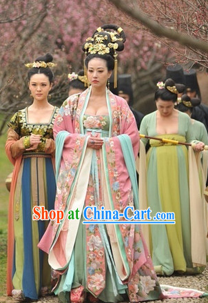 Asian Tang Dynasty Empress Clothing and Hair Accessories Complete Set