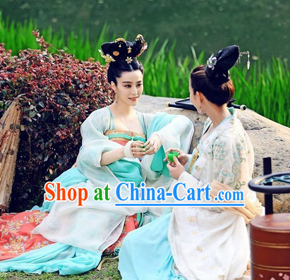 Ancient Chinese Sister Dresses and Headpieces 2 Sets