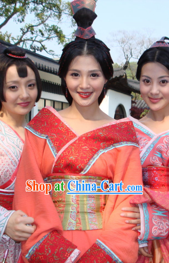 Ancient Chinese Wang Zhaojun Costumes and Hair Accessories
