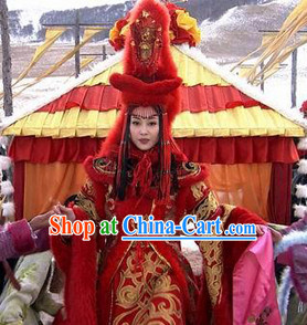 Wang Zhaojun Beauty Wedding Dresses and Hat Complete Set