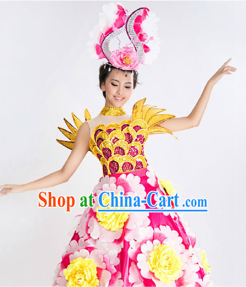 Stage Floral Dance Costumes and Headwear Complete Set