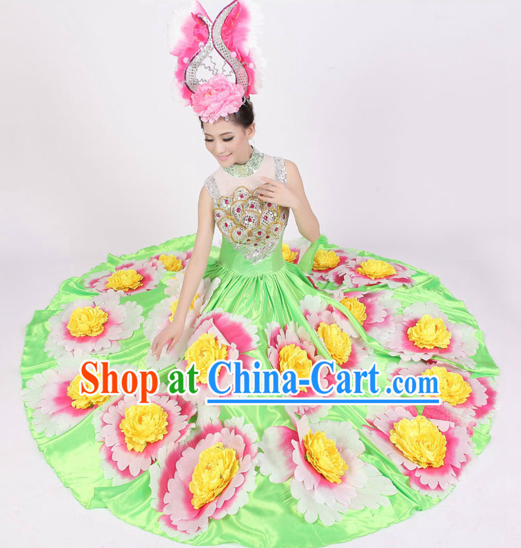 Custom Made Floral Dance Costumes and Hat