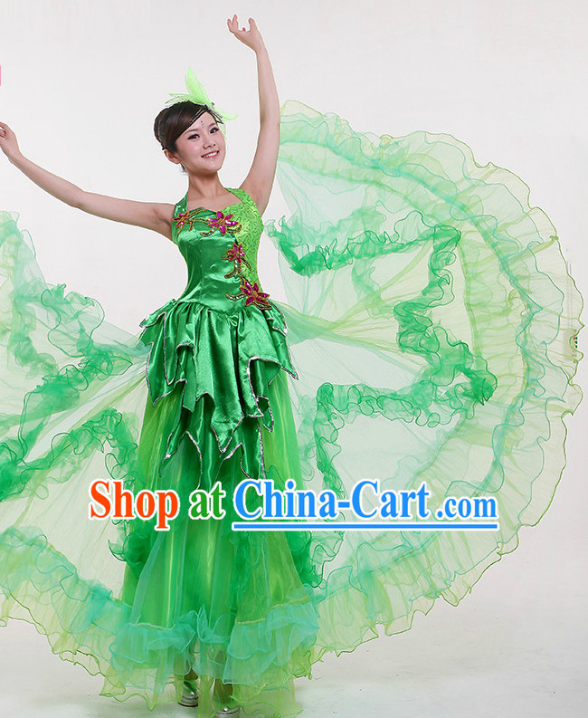 China Green Dance Costumes and Headpieces for Women
