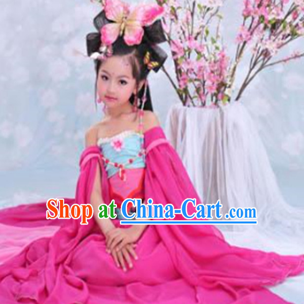 Chinese Kids Classical Dancing Costume and Headpieces