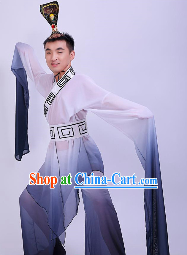 Chinese Long Sleeves Dancing Costumes and Headpieces for Men