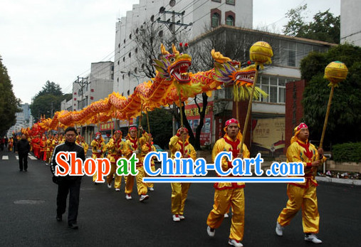 Yellow Chinese Dragon Costumes Complete Set for 12 People