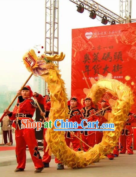 12 Meters Brand New Gold Chinese Dragon Dance Costume Complete Set for 8 Kids
