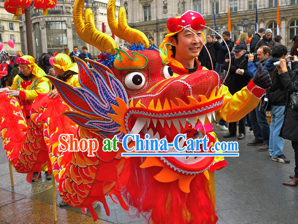 Traditional Chinese Red Dragon Dance Costumes for Four People