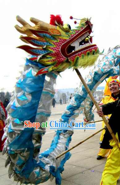 18 Meters Silver and Blue Dragon Dance Equipment for 10 People