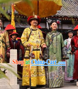 Ancient Chinese Emperor and Empress Costumes and Hair Accessories Complete Set