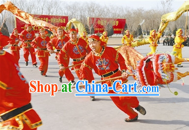 Traditional Red Dragon Dancer Uniform