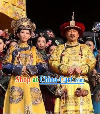 Chinese Qing Dynasty Emperor and Empress Hats and Dragon Phoenix Robes