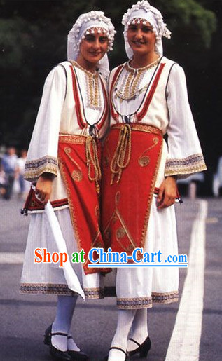 Traditional Greek Costumes and Hat for Women