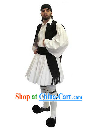 Greek Men Costumes and Hat Complete Set