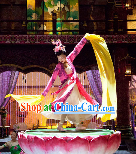 Chinese Classical Dance Competition Costumes and Hair Ornaments Complete Set