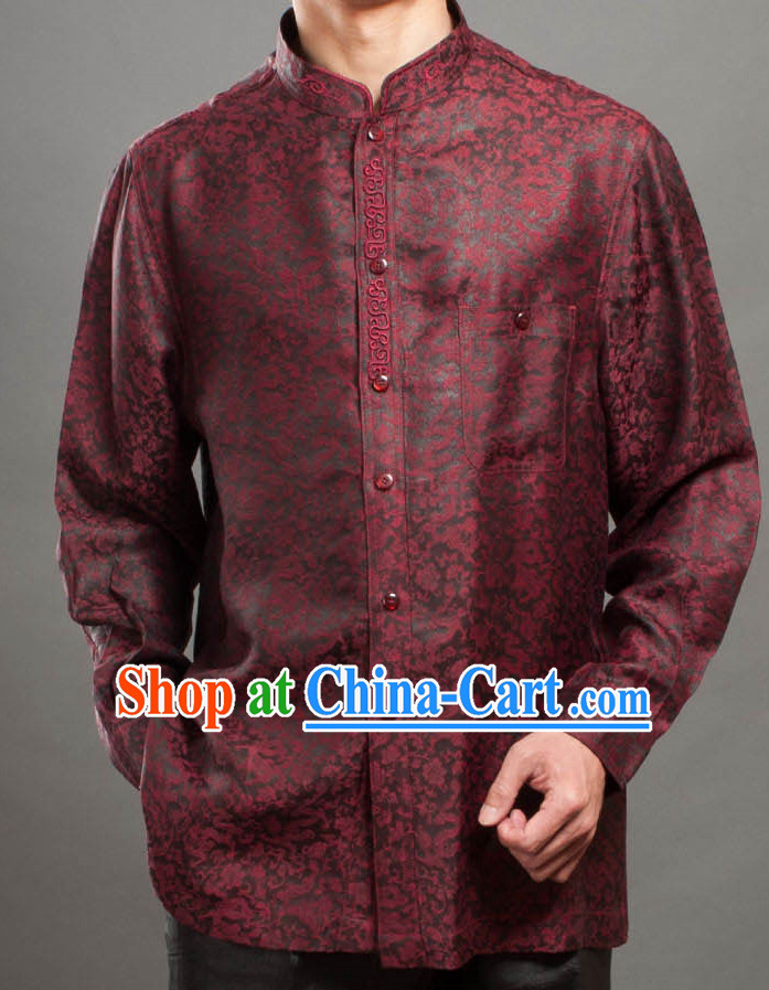 Supreme Deep Red Silk Traditional Dragon Blouse