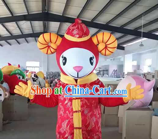 Chinese New Year Laughing Female Sheep Goat Mascot Costumes Complete Set