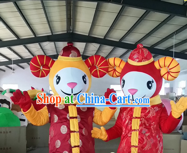 Chinese New Year Laughing Male and Female Sheep Goat Mascot Costumes Complete Set