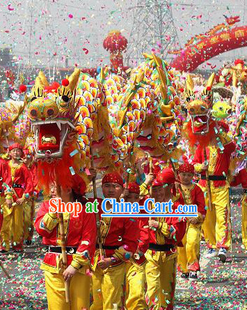 Chinese New Year Dragon Costume Complete Set for Six Children