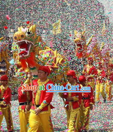 Chinese Big Festival Celebration Dragon Dance Costumes Equipment Complete Set for Eight Children