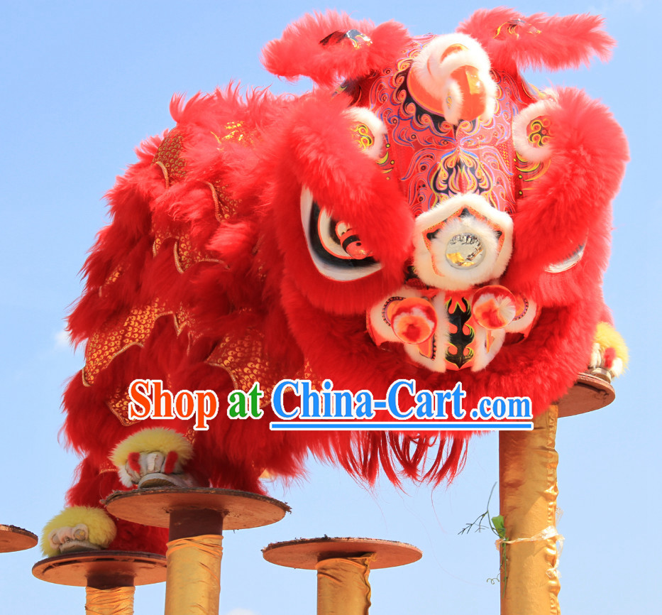 Top Red Southern Fo Shan Lion Dance Equipments Complete Set