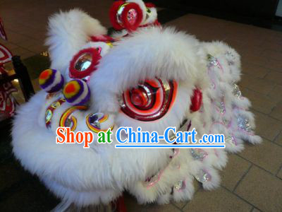 China White Fur Southern Lion Dance Equipments Complete Set