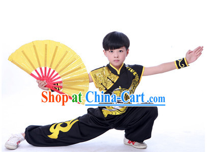 Black Dragon Embroidery Martial Arts Kung Fu Uniform for Children