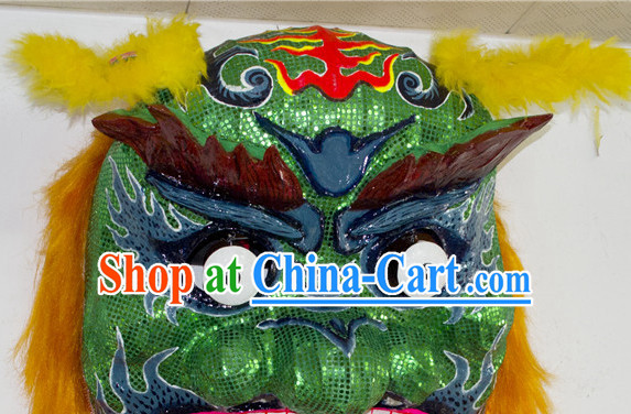 Asian Chinese Qing Shi Taiwan Green Lion Costume Complete Set