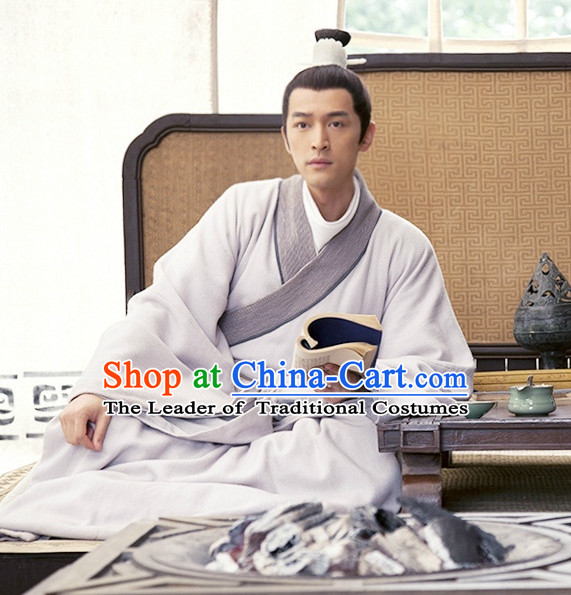 China Ancient Scholar Clothing and Headband Complete Set for Men