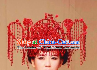 Ancient Chinese Red Wedding Headpieces