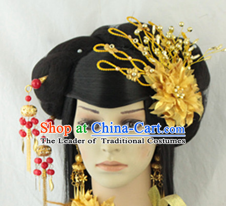 Ancient Chinese Empress Black Wigs and Hair Jewelry