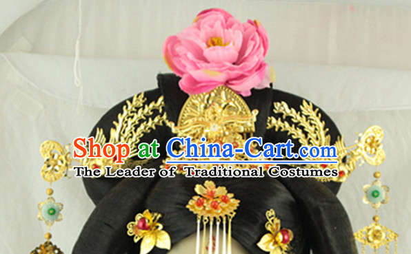 Ancient Chinese Lady Wedding Phoenix Headpieces and Black Long Wigs