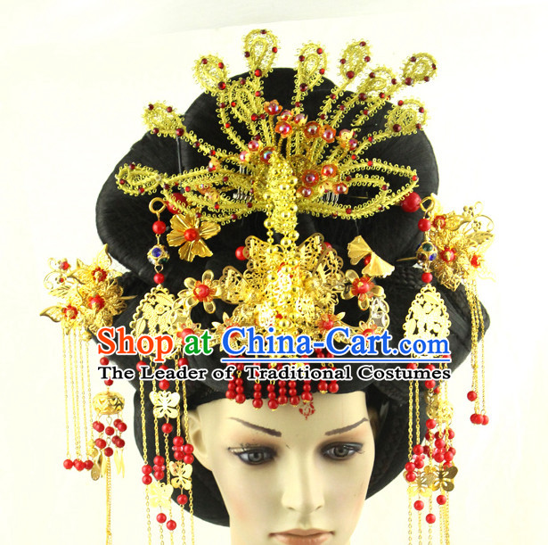 Ancient Chinese Queen Black Wigs and Hairpieces