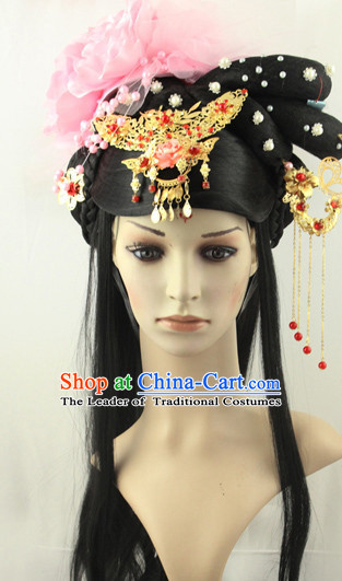 Ancient Chinese Fairy Black Wigs and Hairpieces Hair Jewelry