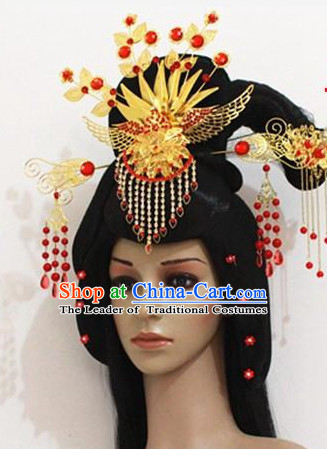 Ancient Chinese Palace Lady Wigs and Handmade Hair Accessories