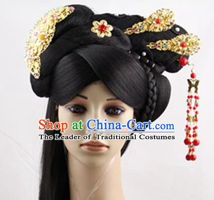 Ancient Chinese Palace Lady Black Wigs and Handmade Hair Accessories