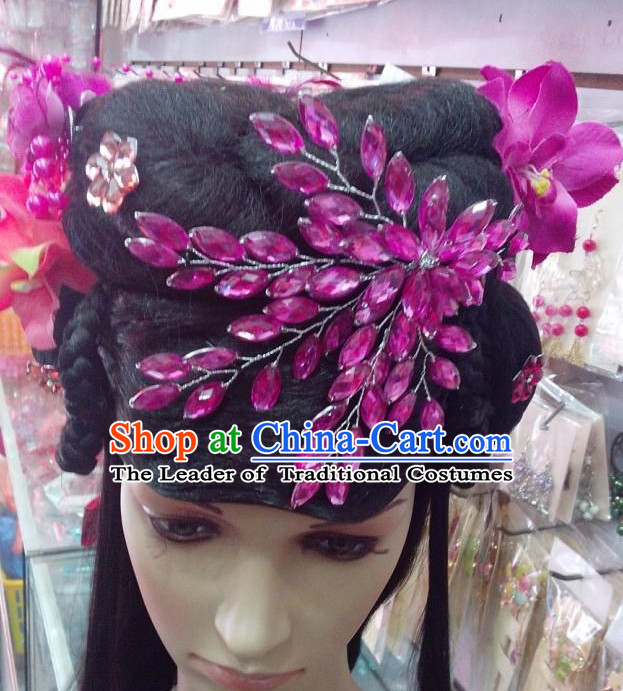 Ancient Chinese Fairy Black Wigs and Hair Jewelry