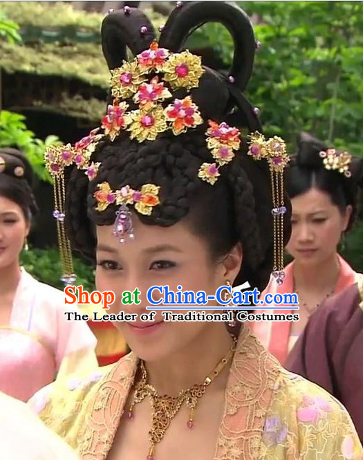 Ancient Chinese Princess Black Wigs and Hair Jewelry