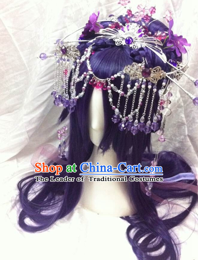 Chinese Fairy Legend Queen Princess Emperor Cosplay Long Wigs and Hair Accessories
