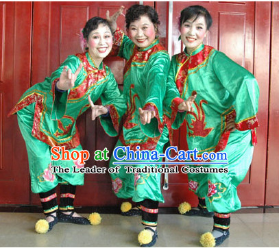 Chinese Happy Nanny Dance Costumes and Wigs